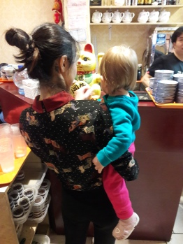 Learning the cashier's ropes at Mai Xiang Yuan